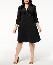 Anne Klein Plus Size Twist-Front Fit & Flare Dress