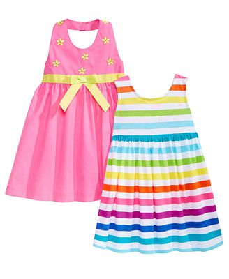 Blueberi Boulevard 2-Pk. Embroidered & Striped Dresses, Little Girls