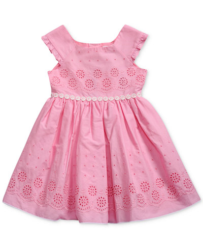 Sweet Heart Rose Floral-Trim Eyelet Dress, Little Girls