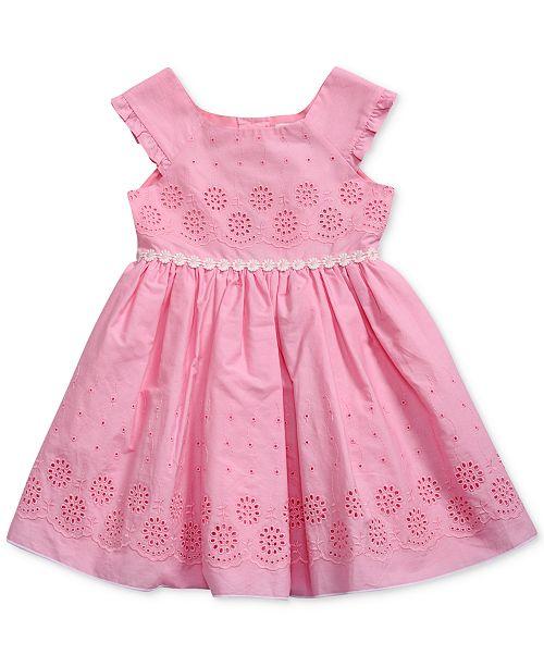 Sweet Heart Rose Floral-Trim Eyelet Dress, Little Girls