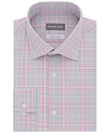 Michael Kors Men's Classic/Regular Fit Non-Iron Airsoft Stretch Performance Red Check Dress Shirt