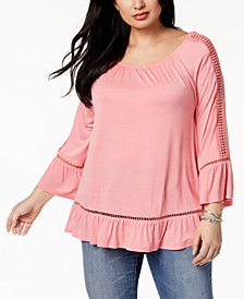 John Paul Richard Plus Size Bell-Sleeve Top