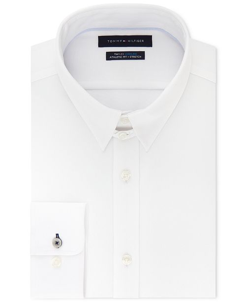 c62ae30f1 ... Tommy Hilfiger Men's Fitted TH Flex Cooling Stretch Performance White  Dress ...
