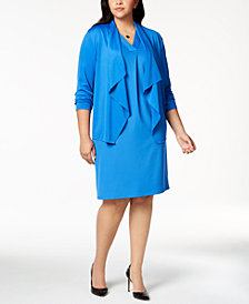 Kasper Plus Size Draped Blazer & Sheath Dress