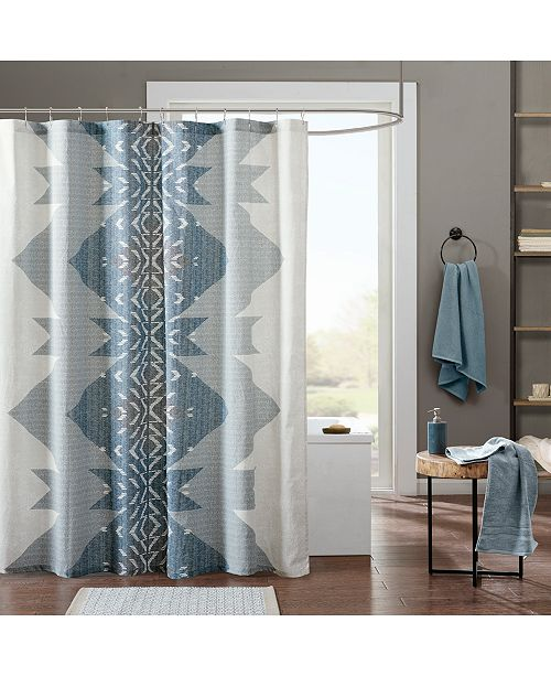 "INK+IVY Nova Cotton 72"" x 72"" Textured Geo-Print Shower Curtain"