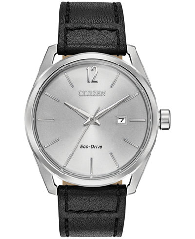 Citizen Drive From Citizen Eco-Drive Men's Black Leather Strap Watch 42mm