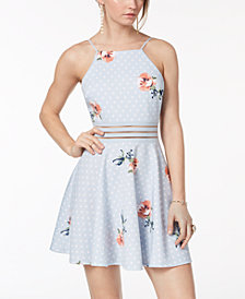 City Studios Juniors' Printed Illusion-Waist Halter Dress