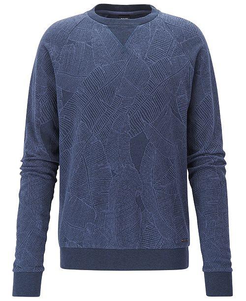 8c6d1d7f2 Hugo Boss BOSS Men's Leaf-Print Cotton Sweatshirt - Hoodies ...