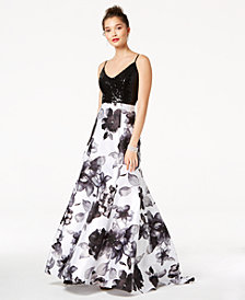 Jump Juniors' Sequined & Floral-Print Gown
