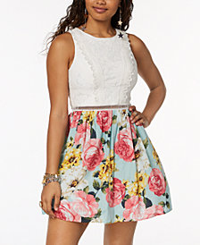 City Studios Juniors' Printed-Skirt Fit & Flare Dress