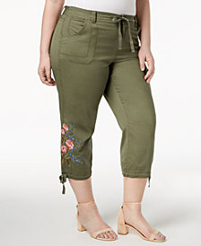 Style & Co Plus Size Embroidered Cropped Cargo Pants, Created for Macy's