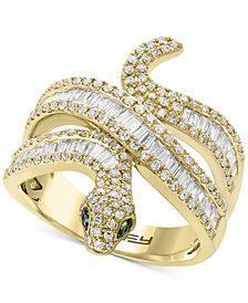 EFFY® Diamond (9/10 ct. t.w.) & Tsavorite Accent Snake Ring in 14k Gold