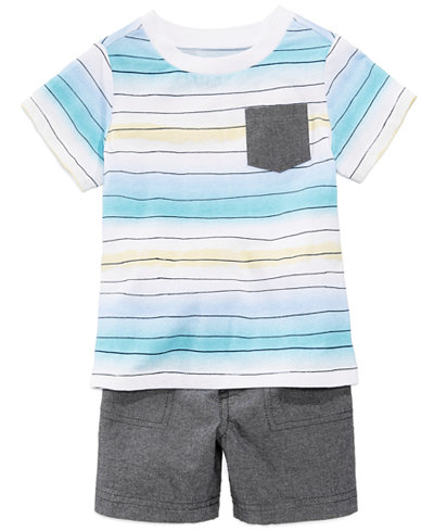 First Impressions Striped Pocket T-Shirt & Shorts Separates, Baby Boys, Created for Macy's