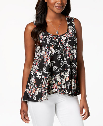 Style & Co Printed Button-Front High-Low Top, Created for Macy's
