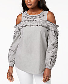 Style & Co Cotton Embroidered Striped Cold-Shoulder Top, Created for Macy's