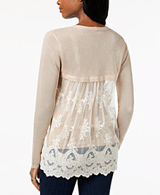 Style & Co Lace-Back Pointelle Cardigan, Created for Macy's