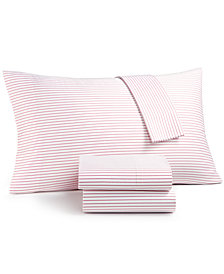 Charter Club Damask Designs Printed Pinstripe Extra Deep California King 4-pc Sheet Set, 500 Thread Count, Created for Macy's