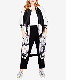 RACHEL Rachel Roy Trendy Plus Size Maxi Bomber Jacket