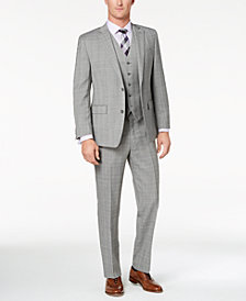 Michael Kors Men's Classic-Fit Gray/Purple Glen Plaid Vested Suit
