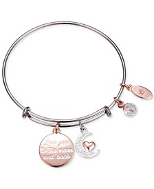 """Love You to the Moon"" Multi-Charm Adjustable Bangle Bracelet in Stainless Steel with Silver Plated Charms"