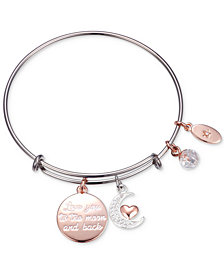 "Unwritten ""Love You to the Moon"" Multi-Charm Adjustable Bangle Bracelet in Stainless Steel"