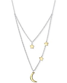 "Two-Tone Moon & Stars Layered Pendant Necklace in Sterling Silver and Gold Flash, 16"" + 2"" extender"