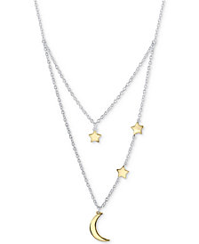 "Unwritten Two-Tone Moon & Stars Layered Pendant Necklace in Sterling Silver and Gold Flash, 16"" + 2"" extender"
