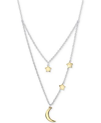 Unwritten Two Tone Moon Stars Layered Pendant Necklace In Sterling