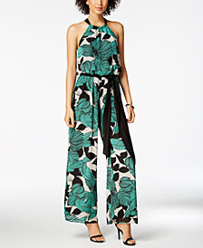 Nine West Printed Halter Jumpsuit, Created for Macy's