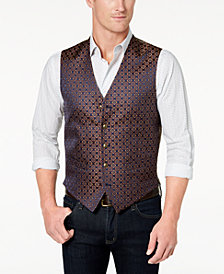 Tallia Orange Men's Modern-Fit Navy/Gold Medallion-Print Vest