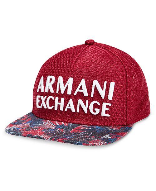 3f6231682e4 Armani Exchange Men s Logo Printed Flat-Bill Hat   Reviews - Hats ...