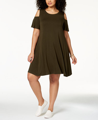 Style & Co Plus Size Flutter-Sleeve Cold-Shoulder Dress, Created for Macy's