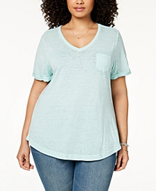 Style & Co Plus Size Burnout T-Shirt, Created for Macy's