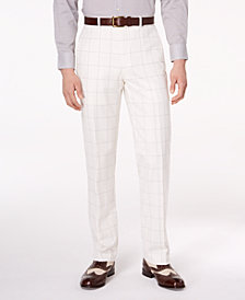 CLOSEOUT! Sean John Men's Classic-Fit Stretch White/Gray Windowpane Suit Pants