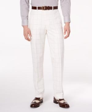 Sean John Men's Classic-Fit Stretch White/Gray Windowpane Suit Pants