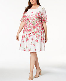 Charter Club Plus Size Floral-Print Lace Dress, Created for Macy's