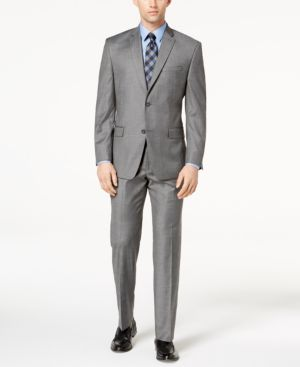 Marc New York by Andrew Marc Men's Classic-Fit Stretch Gray Glen Plaid Suit thumbnail