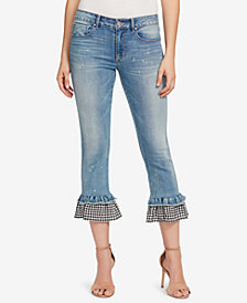Vintage America Petite Cropped Ruffle-Hem Jeans