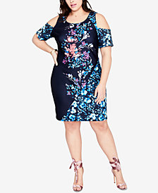 RACHEL Rachel Roy Trendy Plus Size Cold-Shoulder Scuba Dress