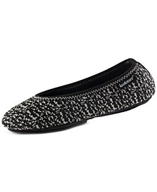 Women's Knit Ballerina Slippers with Travel Pouch