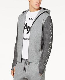 A X Armani Exchange Men's Colorblocked Logo-Print Double-Knit Hoodie