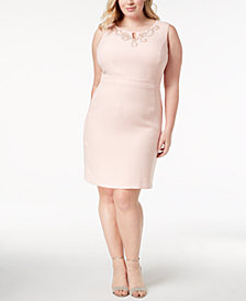 Ellen Tracy Plus Size Beaded Keyhole Sheath Dress