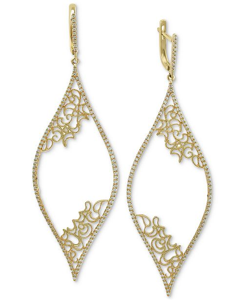 EFFY Collection EFFY® Diamond Micro-Pavé Filigree Drop Earrings  (3/4 ct. t.w.) in 14k Gold