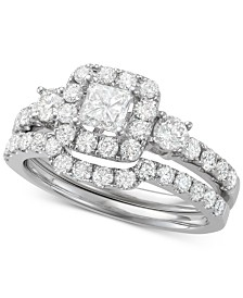 Diamond Princess Cut Halo Bridal Set (1-3/4 ct. t.w.) in 14k White Gold