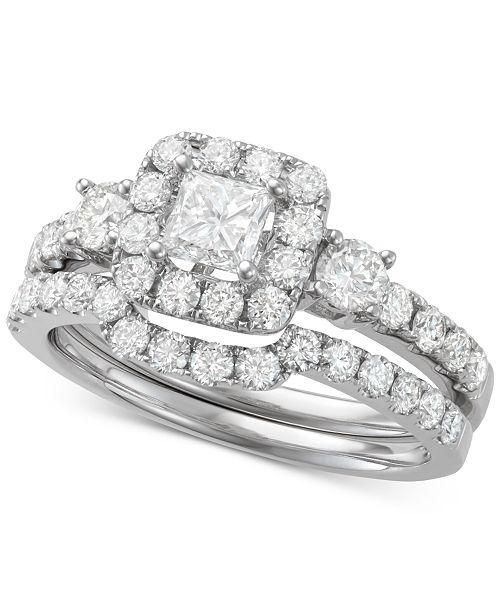 Macy's Diamond Princess Cut Halo Bridal Set (1-3/4 ct. t.w.) in 14k White Gold