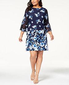 Jessica Howard Plus Size Printed Chiffon Shift Dress