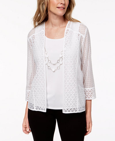 Alfred Dunner Petite Charleston Layered-Look Textured-Lace Necklace Top
