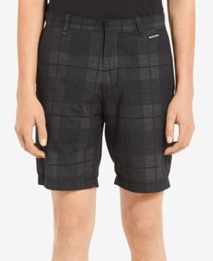 "Men'S Plaid Dobby 9"" Shorts, Black"
