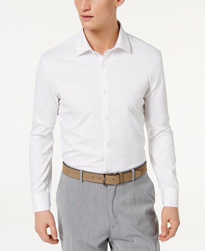 Ryan Seacrest Distinction™ Men's Ultimate Active Slim-Fit Non-Iron Performance Stretch Solid White Dress Shirt, Created for Macy's