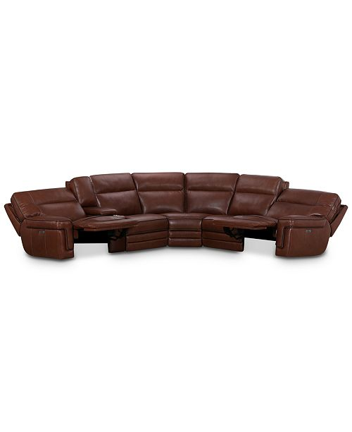 Myars 6 Pc L Shaped Leather Sectional Sofa With 2 Power Recliners Power Headrests And Console With Usb Power Outlet Created For Macy S